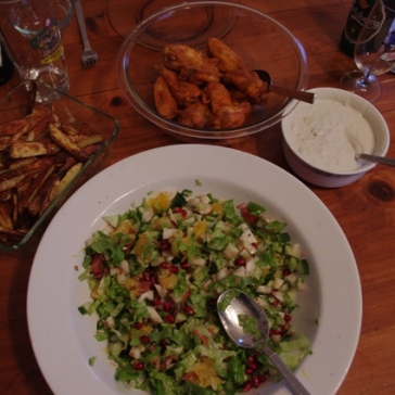 Hot Wings, Blue Cheese, Jerusalem Artichoke with Pomegranate Salad, French Fries & Beer!