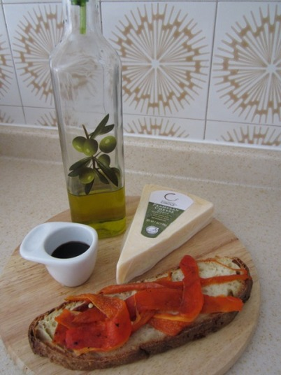 Roasted Peppers on Crusty Bread with Olive Oil, Parmesan, and Balsamic Vinegar