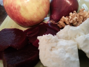 Roasted beets, feta, apples, walnut
