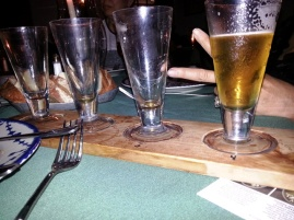 Beer flight with Amy at City Tavern, Philadelphia. Had one with Tom too at Kildare's in WC