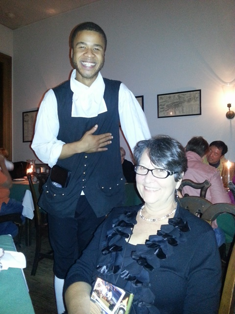 Amy and our fabulous waiter at City Tavern, Philadelphia