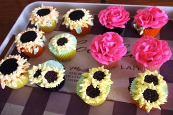Sunflower Lemon & Rose Cupcakes