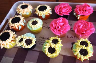 Sunflower Lemon & Rose Cupcakes