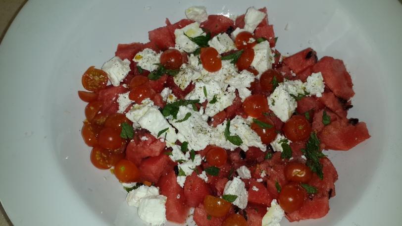 Watermelon, Feta, & Tomato Salad